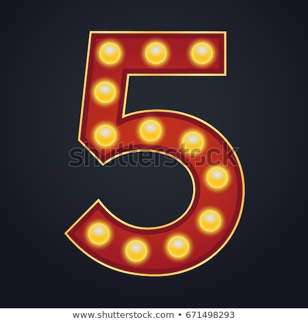 5 Number Vector. Five Font Marquee Light Sign. Realistic Retro Shine Lamp Bulb. 3D Electric Glowing  Stock photo © pikepicture