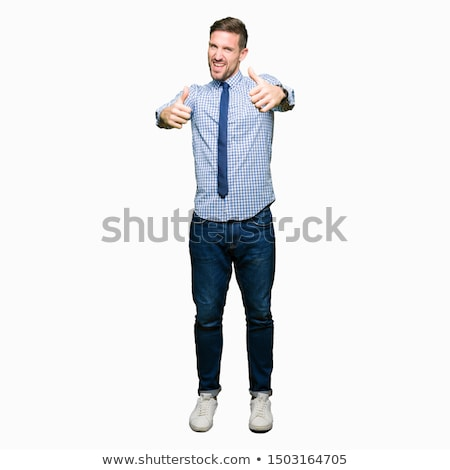 Smiling bearded man in shirt showing thumb up Stock photo © deandrobot