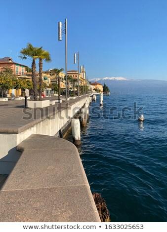 Doca lago de garda Itália flores paisagem montanha Foto stock © backyardproductions