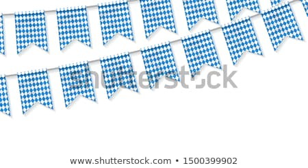Stock photo: Oktoberfest background. Mug of beer and sausage, German flag - s