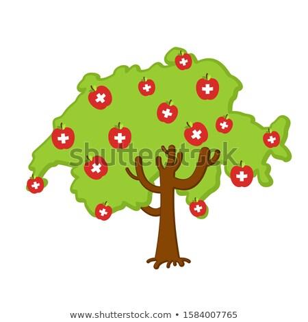 愛国的な リンゴの木 スイス 地図 リンゴ フラグ ストックフォト © popaukropa