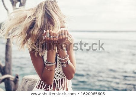 portret · jonge · vrouw · zwarte · top · vrouw - stockfoto © denismart