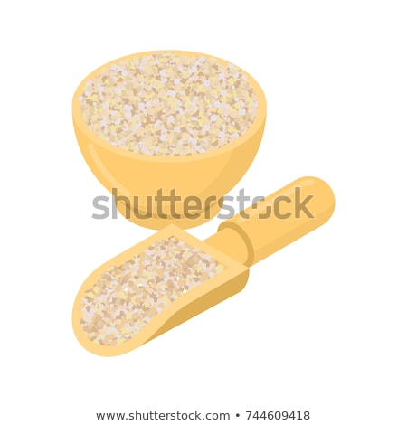 Corn grits in wooden bowl and spoon. Groats in wood dish and sho Stock photo © MaryValery