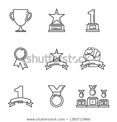 Golden champion cups isolated badge set Stock photo © studioworkstock