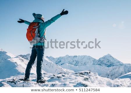 Turist kış dağlar yürüyüş manzara kar Stok fotoğraf © Kotenko