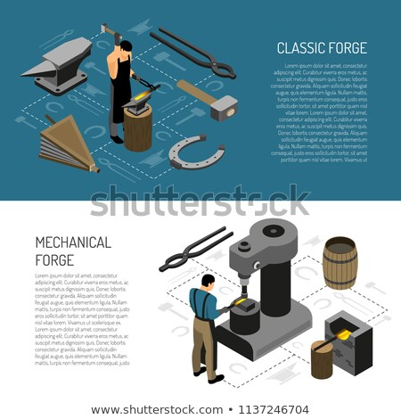 blacksmith working metal with hammer on the anvil stock photo © rastudio