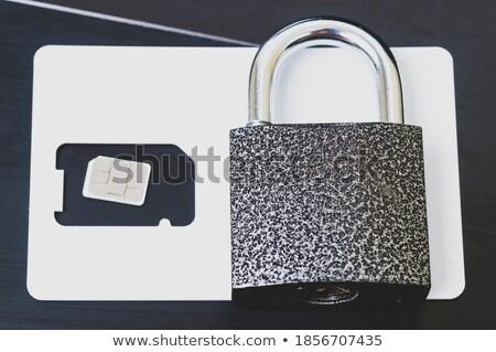 Fémes zár okos kártya laptop közelkép Stock fotó © wavebreak_media