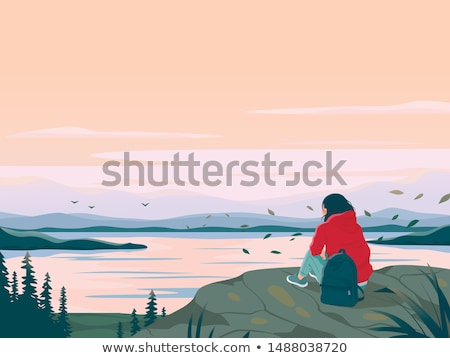 Solo Female Traveler In Forest Stock photo © THP