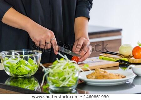 Stock fotó: Személy · vág · koktélparadicsom · tányér · személyek · kéz