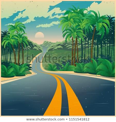 út dzsungel retro poszter stílus stilizált Stock fotó © tracer