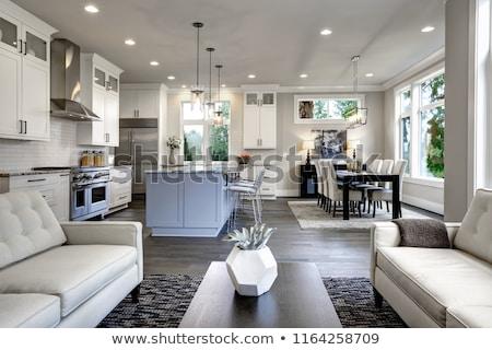 現代 · 高級 · アパート · リビングルーム · キッチン - ストックフォト © iriana88w