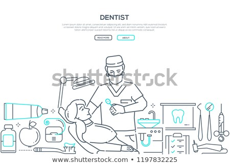 Dentist at work - modern line design style web banner Stock photo © Decorwithme