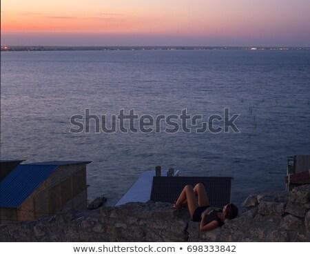 Sziluett természet sugarak reggel meditáció felső Stock fotó © Linetale