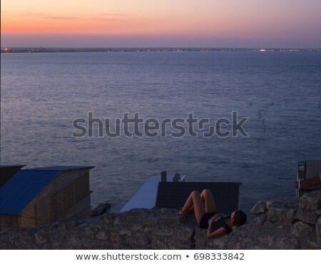 silhouette · nature · matin · méditation · haut - photo stock © Linetale
