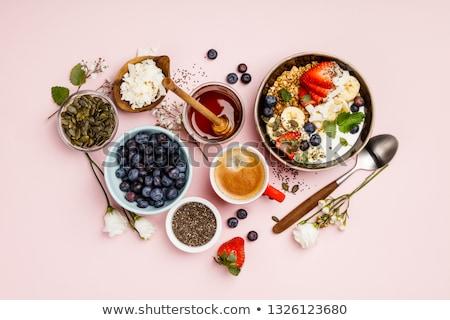 egészséges · reggeli · szett · müzli · bogyók · tej - stock fotó © karandaev