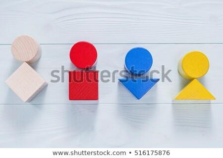 Human Figures Standing On Wooden Blocks Stock photo © AndreyPopov