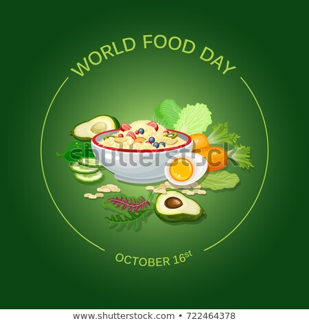 world food day card of flat vegetable icons stock photo © cienpies