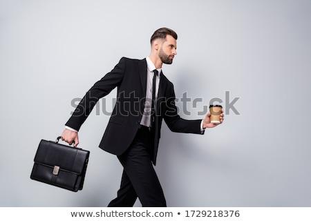 nyugodt · örömteli · üzletember · pontok · fehér · oldal - stock fotó © feedough