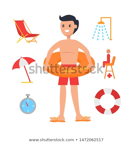Young Man Surrounded with Swimming Equipment Icon Stock photo © robuart