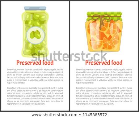 Conservado comida cartaz azeitonas cítrico vetor Foto stock © robuart