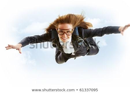 Boldog lány repülés ejtőernyő illusztráció égbolt lány Stock fotó © adrenalina