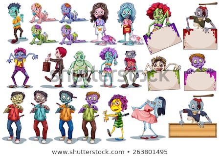 cartoon zombie banner stock photo © cthoman