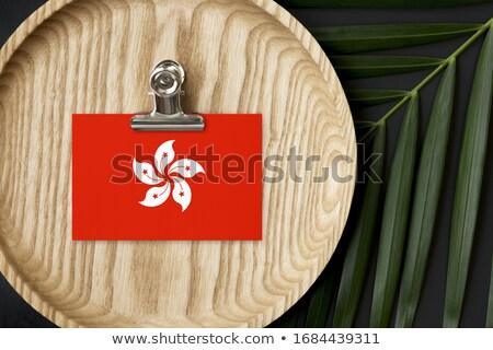 Flag of Hongkong in wooden frame Stock photo © colematt