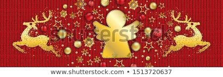 Сток-фото: Merry Christmas Bauble Golden Reindeers Red Knittin Header