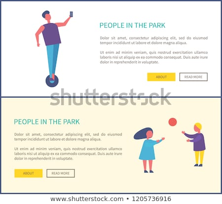 man riding on segway and making selfie vector park stock photo © robuart