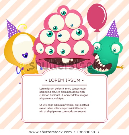 монстр рождения смешные Cartoon Label Сток-фото © kariiika
