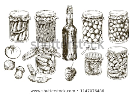 Preserved Food Cucumber Onion Vector Illustration Stock photo © robuart