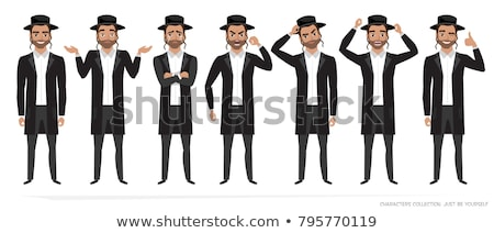 Jewish man jew vector character isolated on white background Stock photo © NikoDzhi