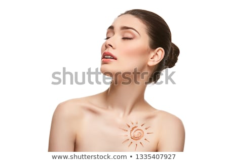 girl with sun drawing on forehead isolated on white stock photo © svetography