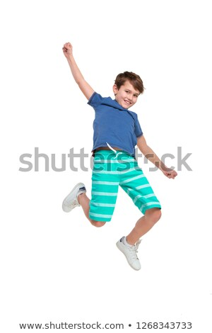 Foto stock: Loiro · menino · saltando · ilustração · homem · feliz