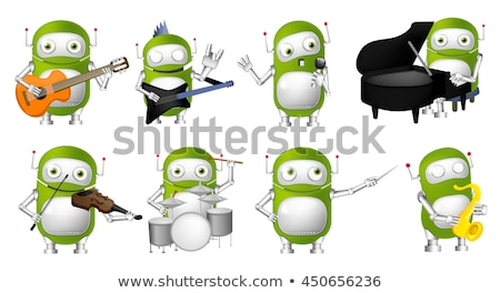 robot playing guitar and singing vector isolated illustration stock photo © pikepicture