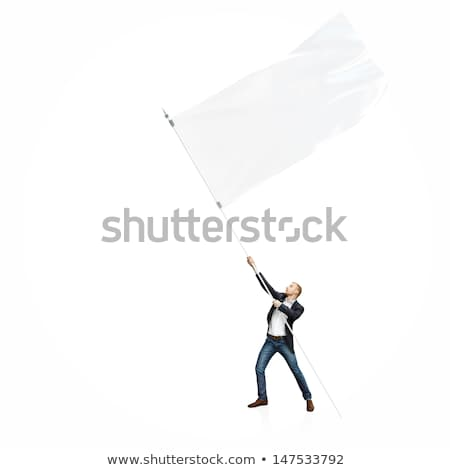businessman on the top of the city holding flag stock photo © ra2studio
