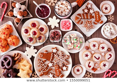 Traditional Linzer Christmas cookies on a plate, top view Stock photo © madeleine_steinbach