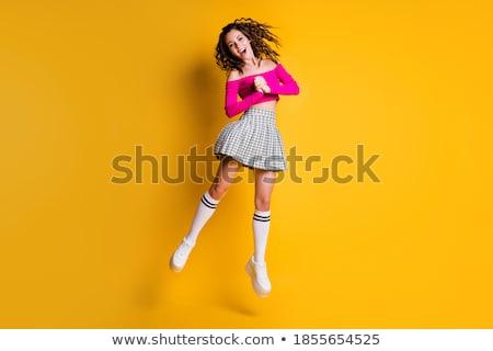 Termény elegáns fiatal lány hosszú barna hajú tart Stock fotó © studiolucky