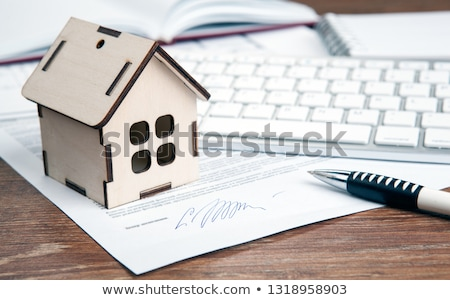 home purchase contract miniature house door key keyboard stock photo © mizar_21984