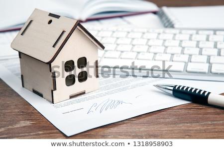 home purchase contract, miniature house, door key, keyboard Stock photo © mizar_21984