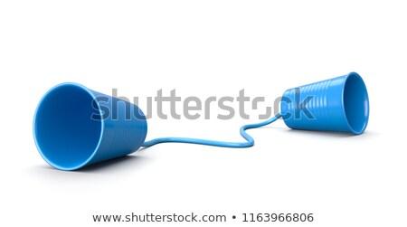 Plastica Cup telefono isolato bianco comunicazione Foto d'archivio © make