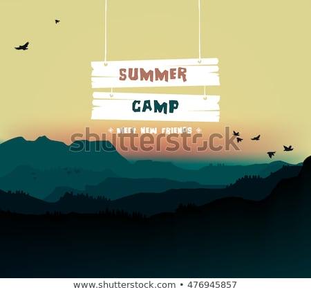 nyári · tábor · illusztráció · nap · ragyogó · nyár · kempingezés - stock fotó © ikopylov