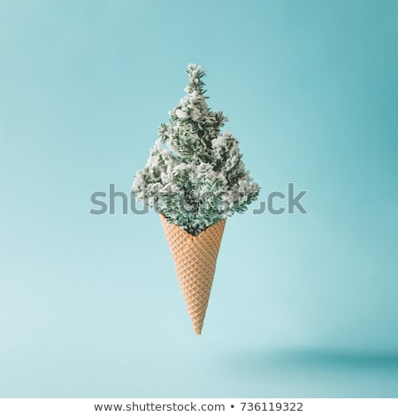 Waffle sweet cones pattern on a color background of the year 2019 Living Coral Pantone. Place for te Stock photo © artjazz