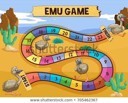 Boardgame template with emu in the field Stock photo © colematt