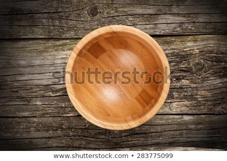 fából · készült · bambusz · tál · konyha · izolált · fehér - stock fotó © DenisMArt