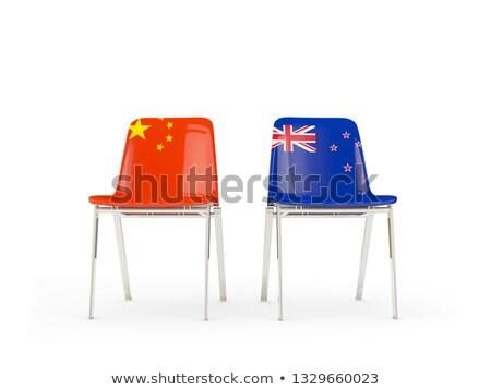 Kettő székek zászlók Kína Új-Zéland izolált Stock fotó © MikhailMishchenko