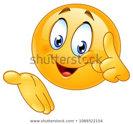 Wijzend presenteren emoticon gelukkig vinger omhoog Stockfoto © yayayoyo