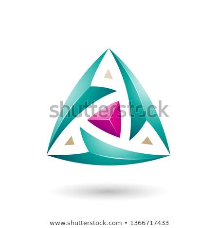 Yeşil üçgen oklar vektör örnek yalıtılmış Stok fotoğraf © cidepix