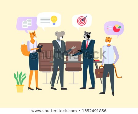 Hipster Animal in Office, Meet and Discuss Vector Stock photo © robuart