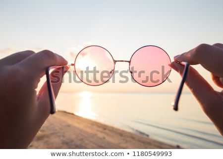 pembe · gözlük · reklam · uzun · gölge - stok fotoğraf © filipw